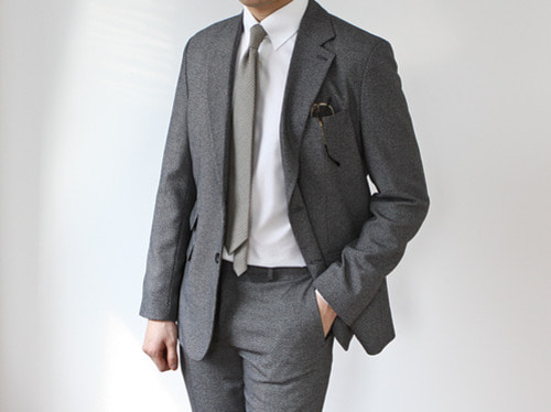 (selcet) rose gobang check suit . charcoal