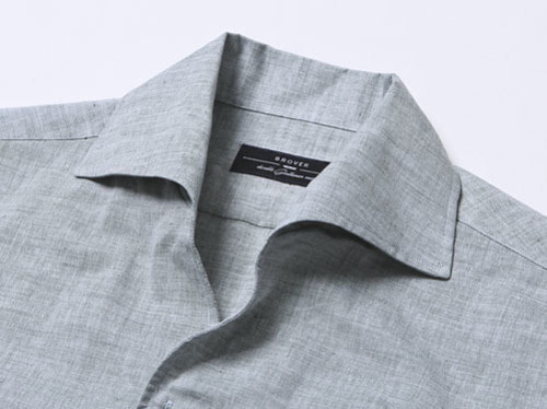 B.ROVER - ONE PIECE COLLAR LINEN SHIRTS KHAKIS/S PREMIUM FABRIC