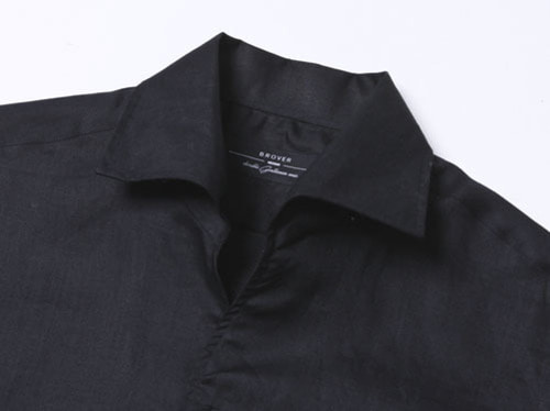 B.ROVER - ONE PIECE COLLAR LINEN SHIRTS BLACKS/S PREMIUM FABRIC