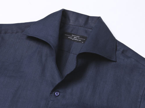B.ROVER - ONE PIECE COLLAR LINEN SHIRTS NAVYS/S PREMIUM FABRIC