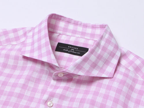 B.ROVER - CUT A WAY GINGUM CHECK LINEN SH PINKS/S PREMIUM FABRIC