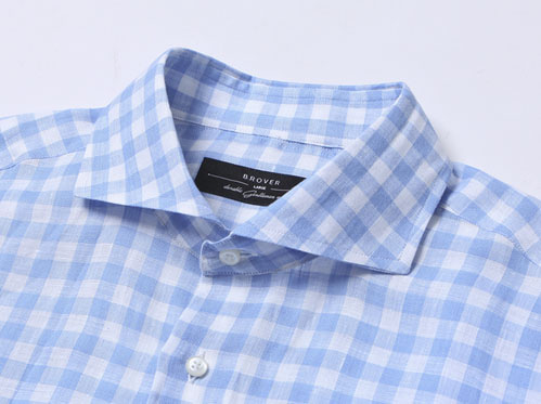 B.ROVER - CUT A WAY GINGUM CHECK LINEN SH SKYS/S PREMIUM FABRIC